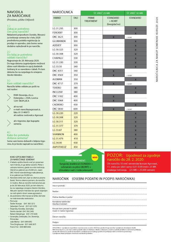 Naročilnica za nakup semenske koruze 2020